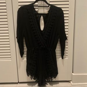 Urban Outfitters Black Lace-Detailed Romper